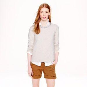 J Crew Cream Off White Jeweled Collar Sweatshirt
